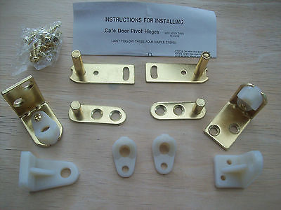 2 X BRASS SWING SALOON DOOR HINGE CAFE BAR PUB GRAVITY PIVOT RANCH HINGES